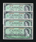 Canadian Currency: , $1 Canadian Notes including BC-37a in AU; BC-37bA in CU; BC-45a inCU; and BC-45b-i in CU.. ... (Total: 4 notes)