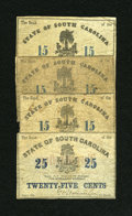 Obsoletes By State:South Carolina, Charleston, SC- Bank of the State of South Carolina 15¢, 25¢ Feb. 1, 1863. ... (Total: 4 notes)