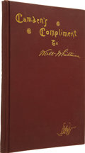 Books:First Editions, [Walt Whitman]. Horace L. Traubel, editor. Camden's Complimentto Walt Whitman May 31, 1889: Notes, Addresses, Letters, ...