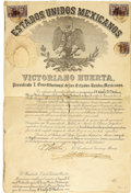 Autographs:Military Figures, Victoriano Huerta Military Appointment Signed as President of Mexico. ...