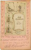 "Entertainment Collectibles:Vaudeville, Autograph Book with Bill ""Bojangles"" Robinson Inscription,Signature and Pencil Sketch. Undated entry in a young lady'sauto..."