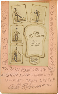 "Autograph Book with Bill ""Bojangles"" Robinson Inscription, Signature and Pencil Sketch. Undated entry in a you..."