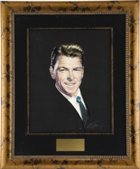 """Ronald Reagan CENSORED Club Portrait. A 16"""" x 20"""" pastel portrait of the actor-turned-President by Nicholas Vo..."""