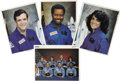 Explorers:Space Exploration, Space Shuttle Challenger (STS-51-L) Crew Three Signed Photographsand One Unsigned Group Photograph,... (Total: 4 Items)