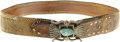 """Movie/TV Memorabilia:Costumes, Buddy Ebsen's Belt from Barnaby Jones. This 42"""" leather beltwith a jade centerpiece in the middle of the brass buck... (Total:1 Item)"""