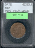 Additional Certified Coins: , 1871 Two Cent Piece MS 64 ACCUGRADE. Although not stated on the...