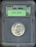 Additional Certified Coins: , 1932-D 25C Quarter MS 64 ICG. Essentially brilliant, this is a...