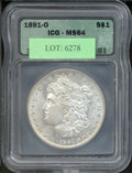 Additional Certified Coins: , 1891-O $1 Dollar MS 64 ICG. Light, mottled patina blankets ea...