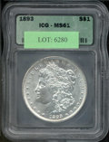 Additional Certified Coins: , 1893 $1 Dollar MS 61 ICG. Boldly struck with fewer surface ma...