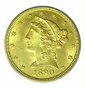 Additional Certified Coins: , 1890-CC $5 Half Eagle MS 63 ICG. The '90-CC half eagle is ...