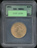 Additional Certified Coins: , 1901 $10 Eagle MS 63 ICG. Were it not for the subdued frosty l...
