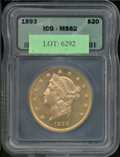 Additional Certified Coins: , 1893 $20 Double Eagle MS 62 ICG. Very well struck with heavily...