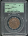 1723 Hibernia Halfpenny MS 64 Red and Brown PCGS. Nelson-8, Breen-155. With smooth surfaces, a crisp strike for the issu...