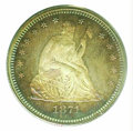 Proof Seated Quarters: , 1871 25C