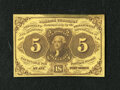 Fractional Currency:First Issue, Fr. 1230 5c First Issue About New. The face of this note has nice color. The top edge has a stain and the back is centered l...