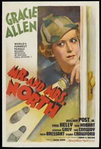"Mr. and Mrs. North (MGM, 1942). One Sheet (27"" X 41""). Mystery Comedy. Starring Gracie Allen, William Post, Jr..."