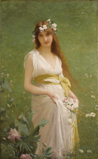 JULES-JOSEPH LEFEBVRE (French 1836-1911) Springtime Oil on canvas 55-1/2 x 34 inches (140.6 x 86.4 cm) Signed lower