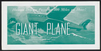"Giant Plane (Universal, 1935). Promotional Poster (9.5"" X 19""). Poster intended to publicize ""Giant Plane..."