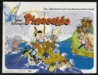 """Pinocchio (Buena Vista, R-1970s). British Quad (30"""" X 40""""). Animated Musical. Starring the voices of Dickie Jo..."""
