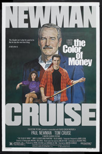 """The Color of Money (Touchstone, 1986). One Sheet (27"""" X 41""""). Sports Drama. Starring Paul Newman, Tom Cruise..."""