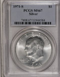 Eisenhower Dollars: , 1971-S $1 Silver MS67 PCGS. PCGS Population (291/1). NGC Census: (68/1). Mintage: 2,600,000. Numismedia Wsl. Price for NGC/...