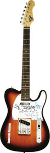 Music Memorabilia:Autographs and Signed Items, Jefferson Airplane Band Signed Guitar. A sunburst finish S101electric guitar with a Jefferson Airplane logo on the body, si...(Total: 1 Item)