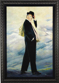 """Frank Sinatra """"Pal Joey"""" Portrait from Beverly Hills CENSORED Club. This stunning, large oil-on-board portrait..."""