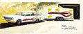 """Movie/TV Memorabilia:Original Art, George Barris """"Vox Wagon and Trailer"""" Concept Art. A 20"""" x 8"""" painting on illustration board of a Vox station wagon with mat... (Total: 1 Item)"""