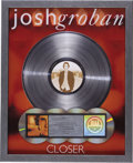 Music Memorabilia:Awards, Josh Groban Closer RIAA Multi-Platinum Album Award.Presented to DJ Chris Taylor to commemorate the sale of more...(Total: 1 Item)