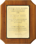Movie/TV Memorabilia:Awards, Buddy Ebsen's San Fernando Valley Criminal Bar Association Award. An honorary award presented to Ebsen in 1975, during his e... (Total: 1 Item)