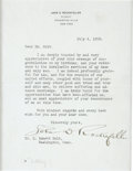 Autographs:Celebrities, John D. Rockefeller Typed Letter Signed...