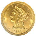 Liberty Half Eagles: , 1861-C $5