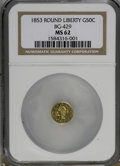 California Fractional Gold: , 1853 50C Liberty Round 50 Cents, BG-429, Low R.4, MS62 NGC. NGCCensus: (12/2). PCGS Population (38/9). (#10465)...
