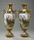 Decorative Arts, Continental:Other , A PAIR OF CONTINENTAL GILT BRONZE MOUNTED GLASS PERFUME BURNERS.Late 19th Century. 27 inches (68.6 cm) high, each. ... (Total: 2Items)