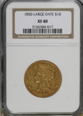 Liberty Eagles: , 1850 $10 Large Date XF40 NGC. NGC Census: (43/295). PCGS Population(27/116). Mintage: 291,451. Numismedia Wsl. Price for N...