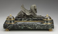 Decorative Arts, French:Other , A FRENCH EGYPTIAN REVIVAL BRONZE AND MARBLE INKSTAND. 19th Century.16-1/4 inches (41.3 cm) long. ...