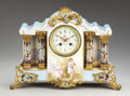 Decorative Arts, French:Other , A FRENCH GILT BRONZE, SÈVRES-STYLE PORCELAIN, AND CHAMPLEVÉENAMEL MANTEL CLOCK. Late 19th-Early 20th Century. 1...