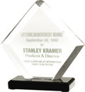 Movie/TV Memorabilia:Awards, Stanley Kramer's 1995 Lifetime Achievement Award. Stanley Kramer,the American film producer and director, was presented the...(Total: 1 Item)