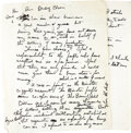 Movie/TV Memorabilia:Memorabilia, Buddy Ebsen's Handwritten Parkay Ad. A very interesting two-pageletter Ebsen wrote in black ink in his own hand, expressing...(Total: 1 Item)