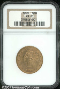 1890 $10 MS 61 NGC. Somewhat dirty with full, muted luster and an average strike. A low mintage (58,043 pieces) issue th...
