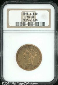 1895-S $10 AU 55 NGC. Well defined for the issue with blushes of luster in the protected areas and normal imperfections...