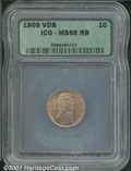 1909 VDB 1C MS 66 Red and Brown ICG. Pink-red luster dominates both sides despite the Red and Brown color assessment. Ge...