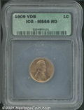 1909 VDB 1C MS 66 Red ICG. Orange-red luster shimmers on both sides of this carefully preserved Gem. ...(PCGS# 2425)