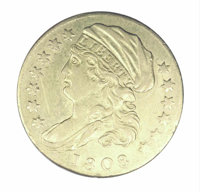 """1808 $2 1/2 XF 40 Rim Filing. """"The character of the 'impression emblematic of Liberty' on our coins, does not appea..."""
