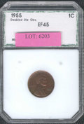 Additional Coins: , 1955/55 1C Doubled Die Cent XF 45 PCI. Deep, reddish-brown pat...