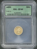 Additional Coins: , 1854 $1 Type Two Gold Dollar XF 40 ICG. The bright orange-gol...