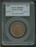 1837 1C MS 65 Brown PCGS. Head of 1838. Vibrant glossy-brown surfaces with the usual blurriness of detail at the margins...