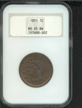 1851 1C MS 65 Brown NGC. Softly struck on the peripheries with sharply impressed central features. The surfaces are free...
