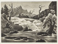Texas:Early Texas Art - Regionalists, WILLIAM LESTER (1910-1992). Rushing River, 1941. Lithograph.10in. x 13 3/4in.. Signed lower right. Jerry Bywaters cho...