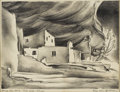 Texas:Early Texas Art - Regionalists, COREEN MARY SPELLMAN (1905-1978). Ruins, Spruce Tree House, MesaVerde, Colorado, late 1930s. Lithograph. 8in. x 10 1/2i...